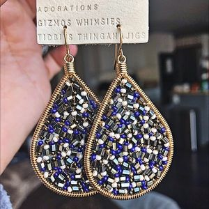 Anthro hand beaded earrings NWT